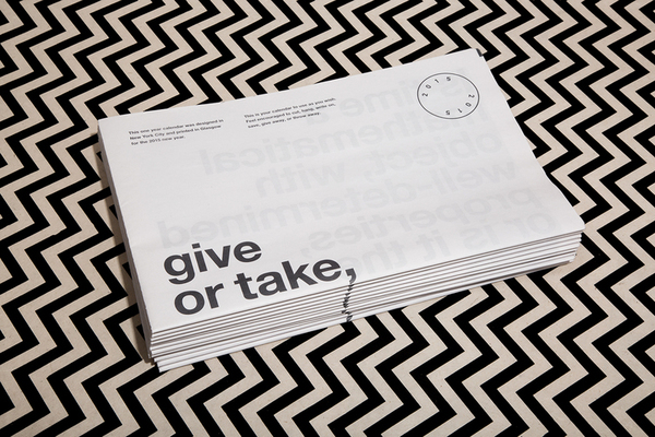 Give or Take a Year digital tabloid newspaper calendar by graphic designer Joe Granato